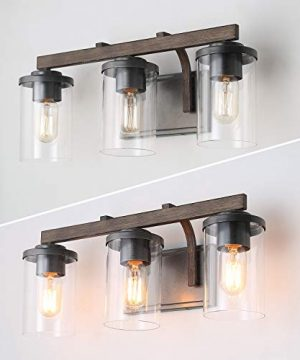 Bathroom Light Fixtures Farmhouse Vanity Light With Clear Glass Shades 3 Lights Wooden Wall Sconce For Bathroom Laundry Room Hallway 20 In Length 0 3 300x360