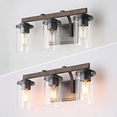 Bathroom Light Fixtures Farmhouse Vanity Light With Clear Glass Shades 3 Lights Wooden Wall Sconce For Bathroom Laundry Room Hallway 20 In Length 0 3