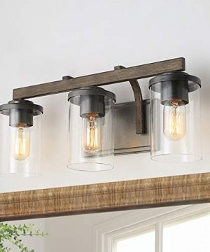 Bathroom Light Fixtures Farmhouse Vanity Light With Clear Glass Shades 3 Lights Wooden Wall Sconce For Bathroom Laundry Room Hallway 20 In Length 0 300x360