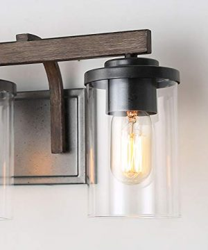 Bathroom Light Fixtures Farmhouse Vanity Light With Clear Glass Shades 3 Lights Wooden Wall Sconce For Bathroom Laundry Room Hallway 20 In Length 0 4 300x360