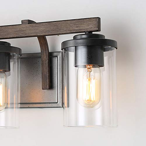 Bathroom Light Fixtures Farmhouse Vanity Light With Clear Glass Shades 3 Lights Wooden Wall Sconce For Bathroom Laundry Room Hallway 20 In Length 0 4