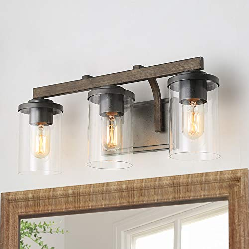 Bathroom Light Fixtures Farmhouse Vanity Light With Clear Glass Shades 3 Lights Wooden Wall Sconce For Bathroom Laundry Room Hallway 20 In Length 0