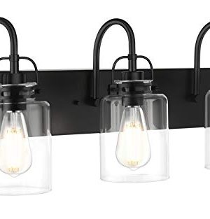 Bathroom Vanity Light Fixtures Minetom 3 Light Matte Black Modern Wall Sconce Lighting With Clear Glass Shade And Metal Base Wall Mounted Lamp For Mirror Cabinet Kitchen Stairs 0 300x313
