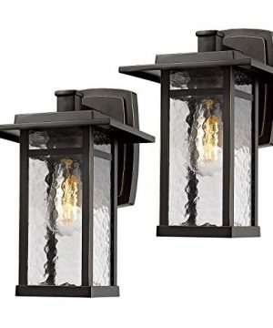 Beionxii Outdoor Wall Light Sconce 2 Pack Exterior Lighting Fixture 136 Inch Oil Rubbed Bronze Finish With Water Ripple Glass A268W 2PK 0 300x360