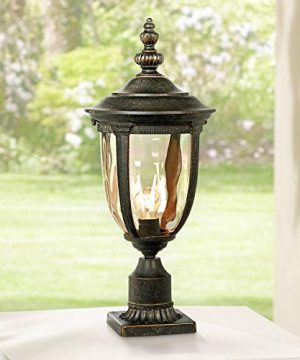 Bellagio European Outdoor Post Light Fixture With Pier Mount Bronze 25 Inch Tall Glass For Exterior House Porch Patio Outside Deck Garage Yard Garden Driveway Home Lawn Walkway John Timberland 0 300x360