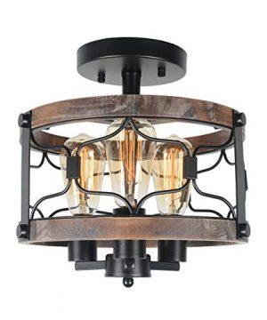 Beuhouz Round Farmhouse Rustic Ceiling Light Metal And Wood Semi Flush Mount Light Industrial Black Wire Cage Light Fixture 3 Light Edison E26 8047 0 300x360