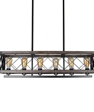 Bizinlumin Long Wood Rectangle Cage Chandelier Light For Kitchen Island Metal Farmhouse Dining Room Lighting Rustic Industrial Billiard Pool Table Edison Light Fixture 6 Lights E26 BY19005 0 300x360