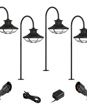 Braden Textured Black 8 Piece LED Path And Spot Light Set John Timberland 0 300x360