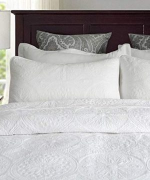 Brandream Luxury Medallion Quilt Bedding Set King Size Cotton Farmhouse Quilted Comforter Set Queen Size Oversized Bedspread Coverlet Set White 0 300x360