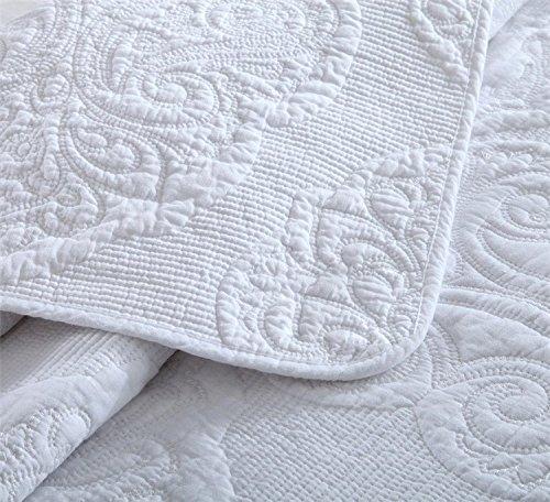 Brandream White Quilt Set Queen Size Cotton Farmhouse Paisley Comforter Set Vintage Quilt SetWhite Paisley 0 1