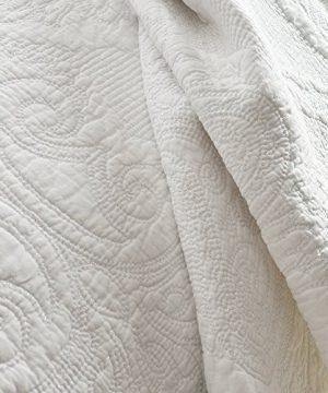 Brandream White Quilt Set Queen Size Cotton Farmhouse Paisley Comforter Set Vintage Quilt SetWhite Paisley 0 2 300x360