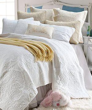 Brandream White Quilt Set Queen Size Cotton Farmhouse Paisley Comforter Set Vintage Quilt SetWhite Paisley 0 3 300x360