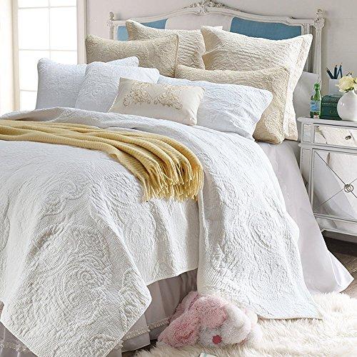 Brandream White Quilt Set Queen Size Cotton Farmhouse Paisley Comforter Set Vintage Quilt SetWhite Paisley 0 3