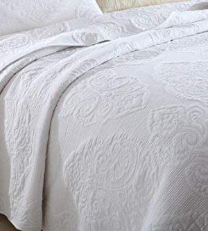 Brandream White Quilt Set Queen Size Cotton Farmhouse Paisley Comforter Set Vintage Quilt SetWhite Paisley 0 300x334