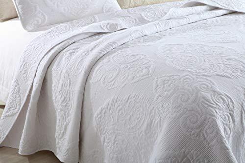 Brandream White Quilt Set Queen Size Cotton Farmhouse Paisley Comforter Set Vintage Quilt SetWhite Paisley 0