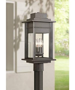 Bransford Rustic Outdoor Post Light Fixture Black Specked Gray 19 12 Clear Glass Decor Exterior House Porch Patio Outside Deck Garage Yard Garden Driveway Home Lawn Walkway Franklin Iron Works 0 300x360