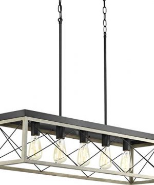Briarwood Collection Whitewashed Five Light Farmhouse Linear Chandelier 0 300x360