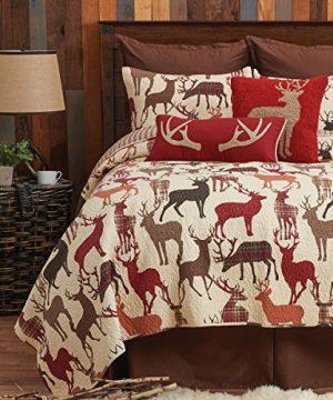 CF Home Colton Tan Lodge Rustic Cabin Deer Cotton 2 Piece Twin Machine Washable Reversible Quilt Set Twin 2 Piece Set Brown 0 300x360