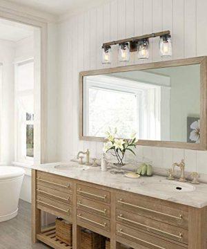 CLAXY Glass Mason Jar Wall Sconces Faux Distressed Metal 4 Light Bath Vanity Lights 0 3 300x360