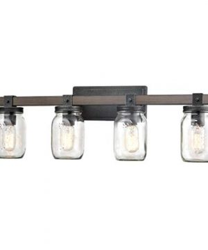 CLAXY Glass Mason Jar Wall Sconces Faux Distressed Metal 4 Light Bath Vanity Lights 0 300x360