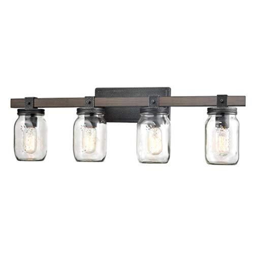 CLAXY Glass Mason Jar Wall Sconces Faux Distressed Metal 4 Light Bath Vanity Lights 0