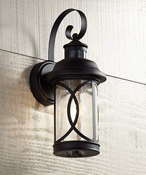Capistrano Mission Outdoor Wall Light Fixture LED Black Hanging 1275 Motion Security Sensor Dusk To Dawn Exterior House Porch Patio Outside Deck Garage Yard Front Door Home John Timberland 0 300x360