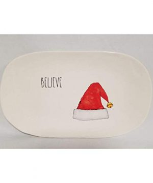 Christmas Holiday BELIEVE In Santa Long Letter Oval Tray Platter By Rae Dunn Features Santa Hat 0 300x360