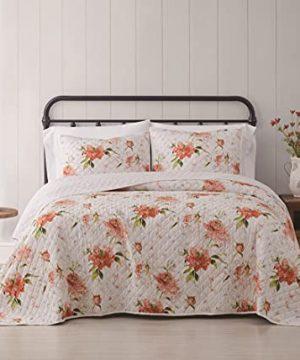Cottage Classics 2 Piece Farmhouse Style Quilt And Sham Set Veronica Simple Floral Pattern Twin XL Multi 0 300x360