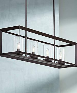 Cove Point Oil Rubbed Bronze Linear Pendant Chandelier 34 12 Wide 4 Light Open Frame Clear Glass For Kitchen Island Dining Room Franklin Iron Works 0 300x360