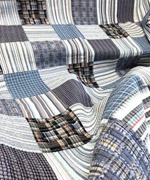 Cozy Line Home Fashions Daniel Denim NavyBlueWhite Plaid Striped Real Patchwork Cotton Quilt Bedding Set Reversible CoverletBedspreadDenim Patchwork Queen 3 Piece 0 0 300x360