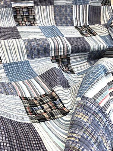 Cozy Line Home Fashions Daniel Denim NavyBlueWhite Plaid Striped Real Patchwork Cotton Quilt Bedding Set Reversible CoverletBedspreadDenim Patchwork Queen 3 Piece 0 0