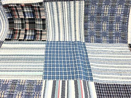 Cozy Line Home Fashions Daniel Denim NavyBlueWhite Plaid Striped Real Patchwork Cotton Quilt Bedding Set Reversible CoverletBedspreadDenim Patchwork Queen 3 Piece 0 1