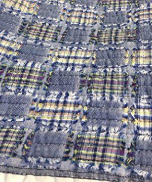 Cozy Line Home Fashions Daniel Denim NavyBlueWhite Plaid Striped Real Patchwork Cotton Quilt Bedding Set Reversible CoverletBedspreadDenim Patchwork Queen 3 Piece 0 2 300x360