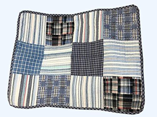 Cozy Line Home Fashions Daniel Denim NavyBlueWhite Plaid Striped Real Patchwork Cotton Quilt Bedding Set Reversible CoverletBedspreadDenim Patchwork Queen 3 Piece 0 3