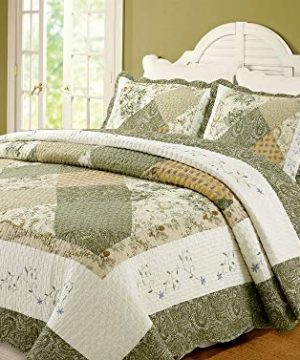 Cozy Line Home Fashions Floral Real Patchwork Green Beige Khaki Yellow Scalloped Edge Country 100 Cotton Quilt Bedding Set Reversible Coverlet Bedspread For Women Laura Queen 3 Piece 0 300x360