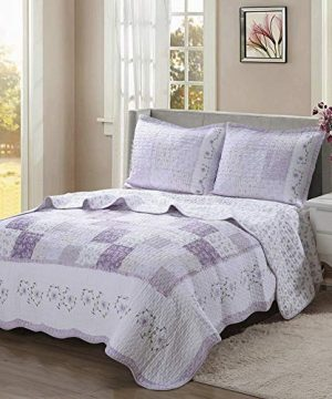 Cozy Line Home Fashions Love Of Lilac Bedding Quilt Set Light Purple Orchid Lavender Chic Lace Floral 100 Cotton Reversible Coverlet Bedspread For Girls Women Lilac Twin 2 Piece 0 300x360