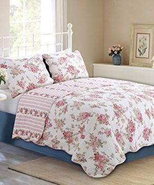 Cozy Line Home Fashions Romantic Pink Peony Flora Cotton Reversible Quilt Bedding Set Coverlet Bedspread Pink Peony Queen 3 Piece 0 300x360