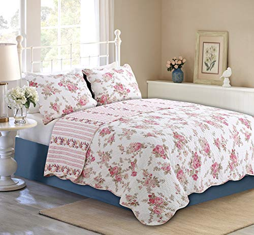 Cozy Line Home Fashions Romantic Pink Peony Flora Cotton Reversible Quilt Bedding Set Coverlet Bedspread Pink Peony Queen 3 Piece 0