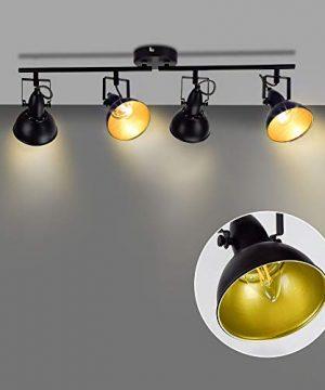 DLLT Flexible Track Light Kit Black Ceiling Tracking Lights Fixture 4 Light Flush Mount Spot Lighting For Living Room Dining Room Bedroom Kitchen Office Closet Room E12 Base 0 300x360