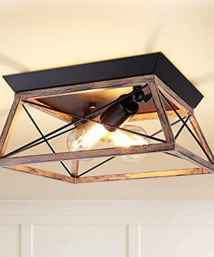 DLLT Industrial Flush Mount Ceiling Light Fixture Square Farmhouse 2 Light Close To Ceiling Light Rustic Metal Ceiling Lamp With Wood Pink Finish For Kitchen Bedroom E26 Base Bulb Not Included 0 300x360