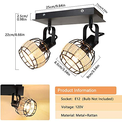 DLLT Modern LED Track Lighting Fixtures 2 Head Adjustable Track Wall Spotlight Semi Flush Mount Ceiling Light With Hollow Design For Living Room Home Kitchen Office E12 Base Bulbs Not Included 0 1