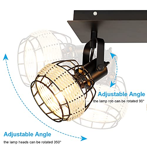 DLLT Modern LED Track Lighting Fixtures 2 Head Adjustable Track Wall Spotlight Semi Flush Mount Ceiling Light With Hollow Design For Living Room Home Kitchen Office E12 Base Bulbs Not Included 0 2