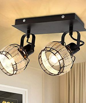 DLLT Modern LED Track Lighting Fixtures 2 Head Adjustable Track Wall Spotlight Semi Flush Mount Ceiling Light With Hollow Design For Living Room Home Kitchen Office E12 Base Bulbs Not Included 0 300x360