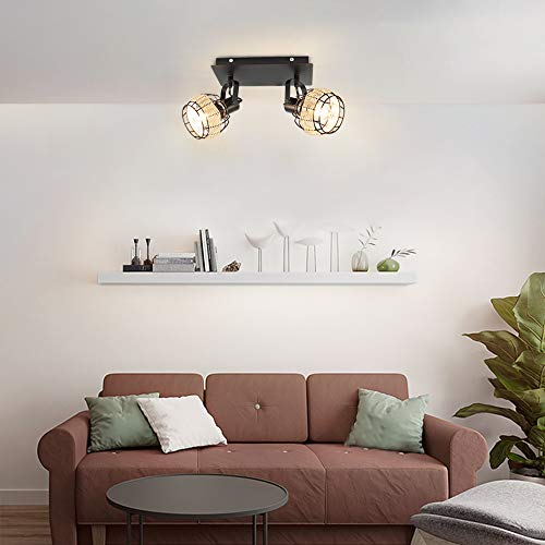 DLLT Modern LED Track Lighting Fixtures 2 Head Adjustable Track Wall Spotlight Semi Flush Mount Ceiling Light With Hollow Design For Living Room Home Kitchen Office E12 Base Bulbs Not Included 0 4