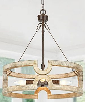 Derksic 4 Light Farmhouse Chandelier 1775 Dia Rustic Wood Drum Chandeliers In Hand Painted White Finish For Kitchen Island Dining Room Living Room Entry 0 300x360