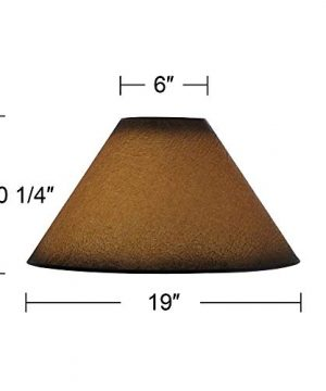 Distressed Faux Paper Large Lamp Shade 6 Top X 19 Bottom X 12 Slant X 1025 High Spider Replacement With Harp And Finial Brentwood 0 3 300x360