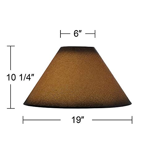 Distressed Faux Paper Large Lamp Shade 6 Top X 19 Bottom X 12 Slant X 1025 High Spider Replacement With Harp And Finial Brentwood 0 3