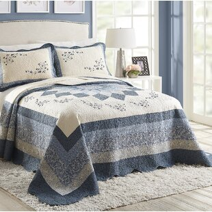 Dulaney+Blue_Gray_Ivory+100%+Cotton+Coverlet+_+Bedspread