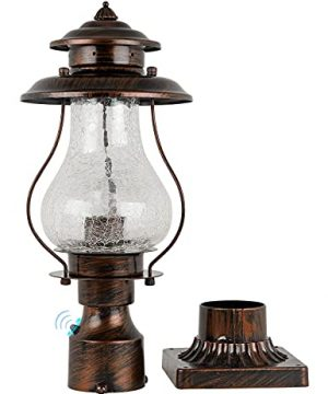 Dusk To Dawn Outdoor Post Lanterns Photocell Sensor Rustic Pole Mount Lights With Pier Mount Adapter Oil Rubbed Brown With Crackle Glass Waterproof Pillar Lights For Patio Garden Porch And Backyard 0 300x360