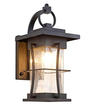 EERU Waterproof Outdoor Wall Sconces Light Fixtures Exterior Wall Lanterns Outside House Lamps Black Metal With Clear Seeded Glass Perfect For Exterior Porch Patio House 0 300x360